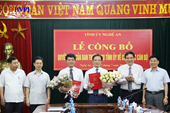 Nghệ An có Trưởng ban tổ chức và Chánh Văn phòng tỉnh ủy mới