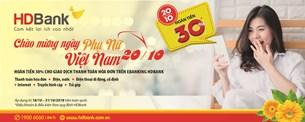HDbank hoàn tiền 30 eBanking nhân ngày phụ nữ Việt Nam