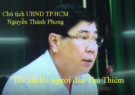 Chủ tịch Nguyễn Thành Phong Tôi chân thành xin lỗi người dân Thủ Thiêm