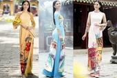 Hoa hậu Tiểu Vy diện áo dài in đèn lồng, vách ngói