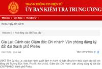 Kỷ luật cảnh cáo Giám đốc Chi nhánh Văn phòng đăng ký đất đai TP Pleiku