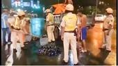 CSGT hốt vỏ bia vỡ trên đường huyết mạch Sài Gòn