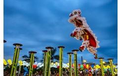Mai hoa thung trên nước lần đầu tiên được biểu diễn ở Lễ hội lân sư rồng quốc tế Đà Nẵng 2019
