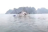 Va chạm với sà lan, một tàu du lịch bị chìm trên vịnh Hạ Long