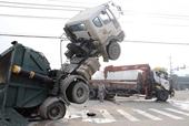 Hai nạn nhân nguy kịch sau va chạm mạnh giữa xe container và xe tải