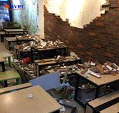 Sập tường trong quán ăn, 4 thực khách bị thương