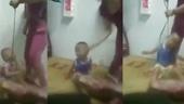 Phẫn nộ người mẹ dùng dây thừng quấn cổ, đánh đập con
