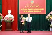 Bổ nhiệm Chánh án Tòa án Nhân dân tỉnh Nghệ An