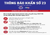 Thông báo khẩn tìm những hành khách trên chuyến bay VN 7198