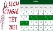 Lịch nghỉ Tết Nguyên đán chính thức năm 2021