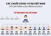 Các chuỗi COVID-19 tại Việt Nam từ cuối tháng 4 2021