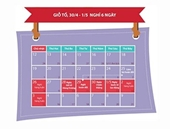 Lịch nghỉ lễ 30 tháng 4, 1 5 và Giỗ tổ Hùng Vương 2015
