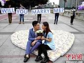 Chàng trai dùng 4 500 miếng bỉm trẻ con để cầu hôn bạn gái