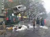 Bức ảnh hiếm có về chiếc xe tải treo lơ lửng trên cành cây